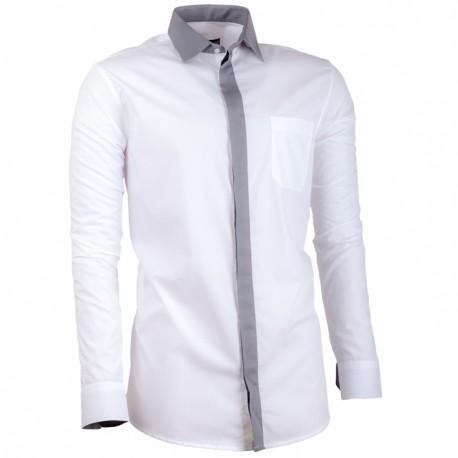 42fb73a9213 Bílá pánská košile s dlouhým rukávem slim fit Assante 30691