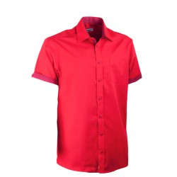 Červená pánská košile s krátkým rukávem rovná Aramgad 40337