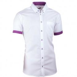 Bílá pánská košile slim fit 100 % bavlna Assante 40010