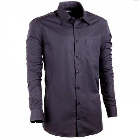 Černá prodloužená košile s dlouhým rukávem slim 100 % bavlna Assante 20106