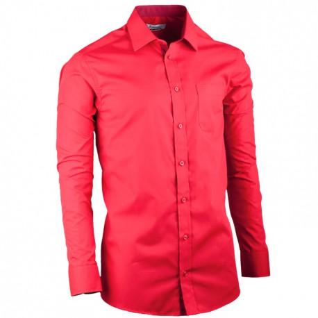 Červená pánská košile s dlouhým rukávem rovná Aramgad 30383