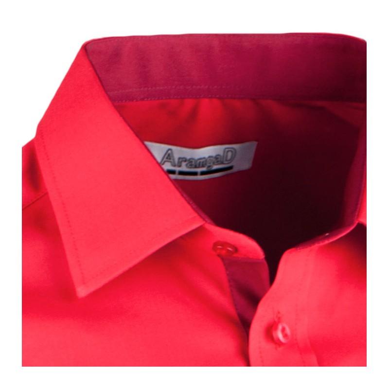 0b04ea9b948 ... Červená pánská košile s dlouhým rukávem rovná Aramgad 30383 ...
