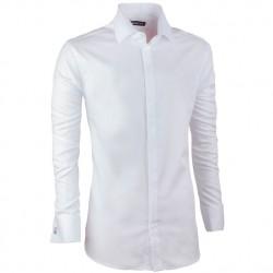 Košile na manžetový knoflíček slim fit bílá Assante 30042