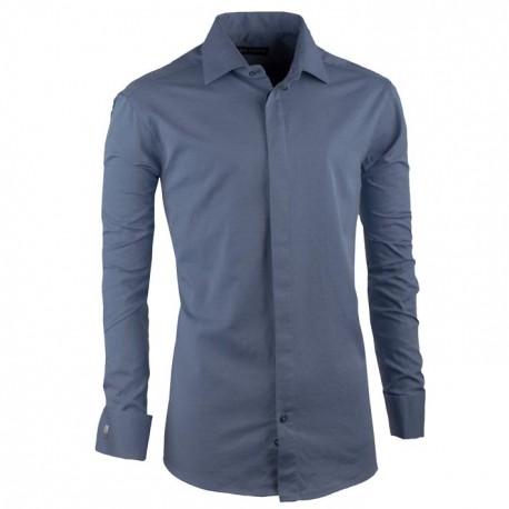 Košile na manžetový knoflíček ocelově modrá slim Assante 30425