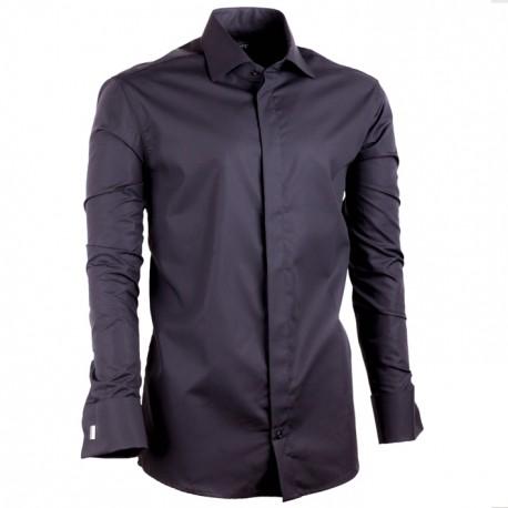 Černá prodloužená košile na manžetový knoflíček slim fit Assante 20110