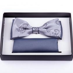 Svatební motýlek šedý s kapesníčkem Assante 90242