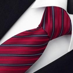 Luxusní červená kravata pruhovaná Greg 93205.