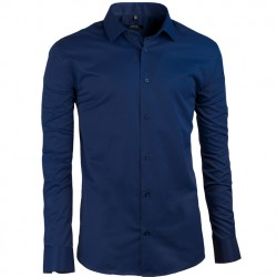 Švestkově modrá pánská košile s dlouhým rukávem slim fit Native 30402