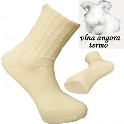 Béžové přírodní termo ponožky angora Assante 72201