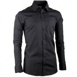 Černá pánská košile s dlouhým rukávem slim fit Aramgad 30180