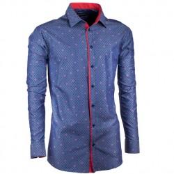 Prodloužená košile slim modročervená Assante 20795