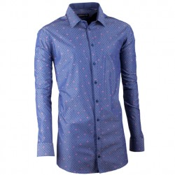 Prodloužená košile slim modromodrá Assante 20797