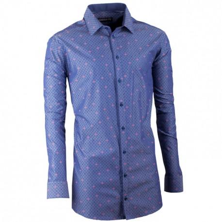 Prodloužená pánská košile slim modro modrá Assante 20797