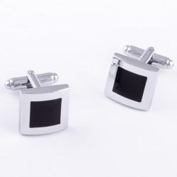 Manžetové knoflíčky černo stříbrné Assante 90546