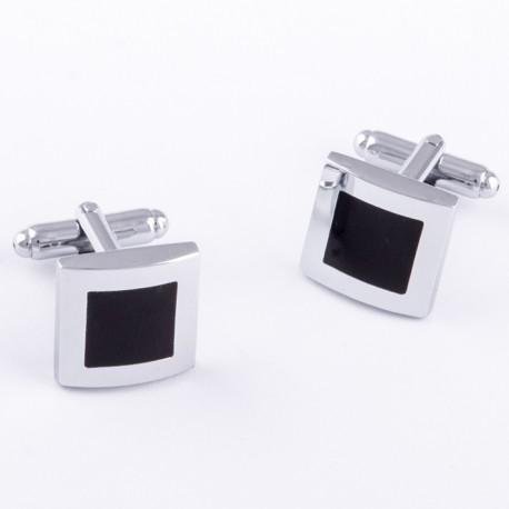Manžetové knoflíčky černo stříbrné barvy Assante 90546