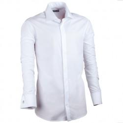 Prodloužená pánská košile bílá slim na manžetový knoflík Assante 20009