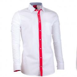 Prodloužená pánská košile bílá slim fit Assante 20715