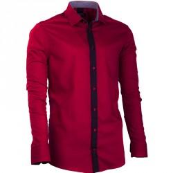 Prodloužená pánská košile vínově červená slim fit Assante 20717