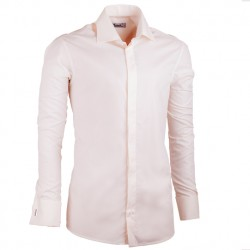 Prodloužená košile na manžetový knoflík slim fit šampaň Assante 20201