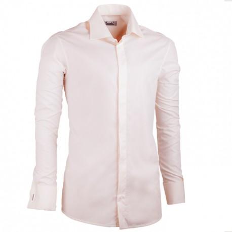 Košile prodloužená pánské šampaň slim fit na manžetový knoflík Assante 20201