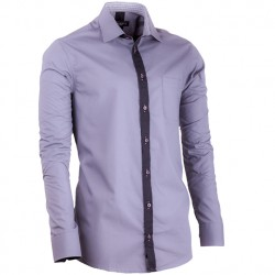Prodloužená košile šedá slim fit Assante 20718