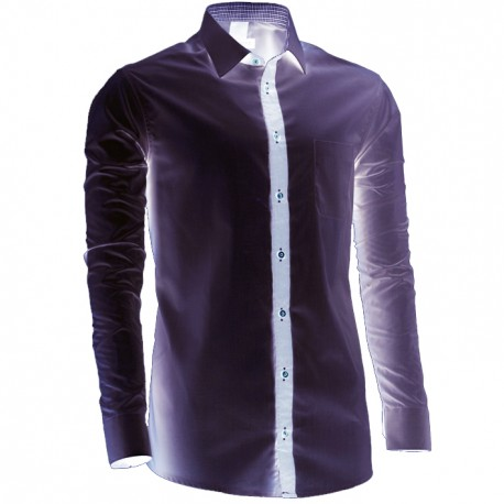 Prodloužená pánská košile šedá slim fit Assante 20719