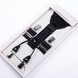 Černé kšandy šedý vzor kožená poutka Assante 90046