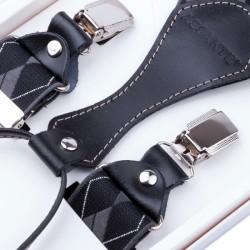 Luxusní černé kšandy s hedvábným leskem kožená poutka Assante 90052