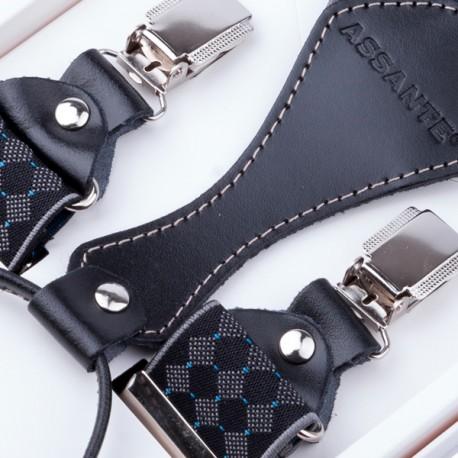 Luxusní černé kšandy s hedvábným leskem kožená poutka Assante 90056