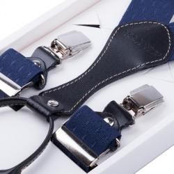 Luxusní modré kšandy kožená poutka Assante 90063