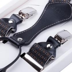 Luxusní černošedé kšandy kožená poutka Assante 90065