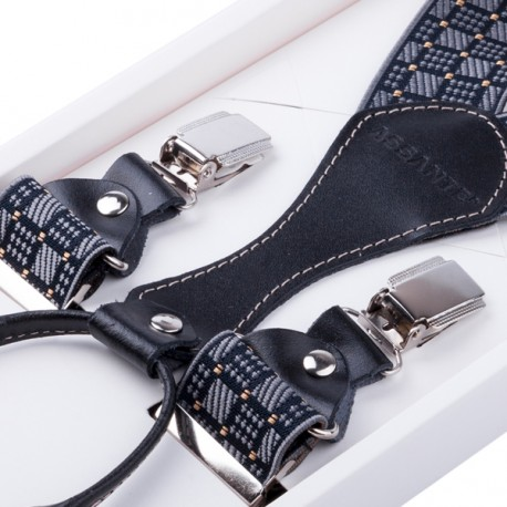 Luxusní šedočerné kšandy s hedvábným leskem kožená poutka Assante 90067