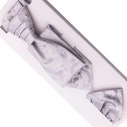 Svatební regata stříbrná - Anglická kravata Assante 90683