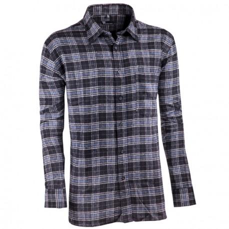 Šedočerná flanelová košile s dlouhým rukávem rovná Friends and Rebels 30819