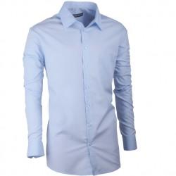 Prodloužená pánská košile slim modrá Assante 20411