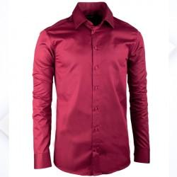 2210b5e003a Extra prodloužená pánská košile slim fit vínově červená Assante 20314