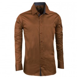 Bronzová pánská košile slim 100% bavlna Assante 30285