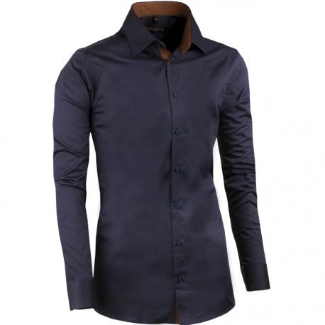Prodloužená pánská košile slim švestkově modrá Assante 20408