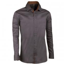 Prodloužená pánská košile slim tmavě šedá Assante 20114