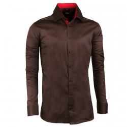 Prodloužená pánská košile slim tmavě hnědá Assante 20211