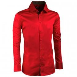 Extra prodloužená pánská košile slim fit karmínová Assante 20311