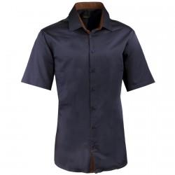 Pánská švestková košile slim krátký rukáv 100% bavlna non iron Assante 40442