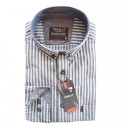 Modrá pánské košile dlouhý rukáv rovný střih Tonelli 110911