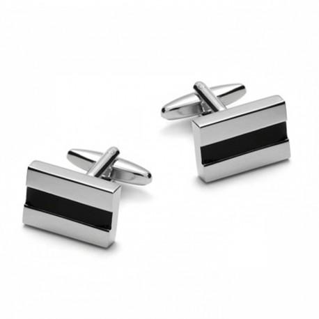 Manžetové knoflíky černostříbrné Assante 90510