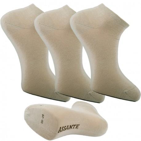 Multipack ponožky 3 páry béžové antibakteriální kotníkové Ag Assante 782