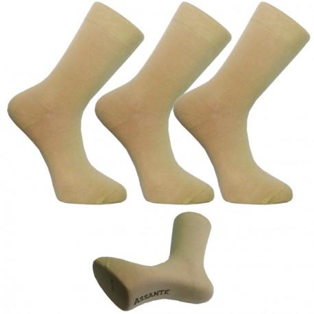 Multipack ponožky 3 páry béžové antibakteriální se stříbrem Assante 730