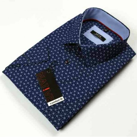 Modrá pánská košile krátký rukáv vypasovaný střih Native 120301
