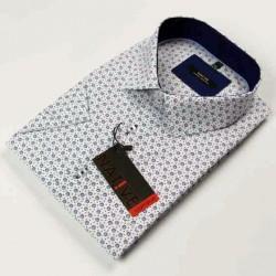 Bílá pánská košile krátký rukáv vypasovaný střih Native 120302