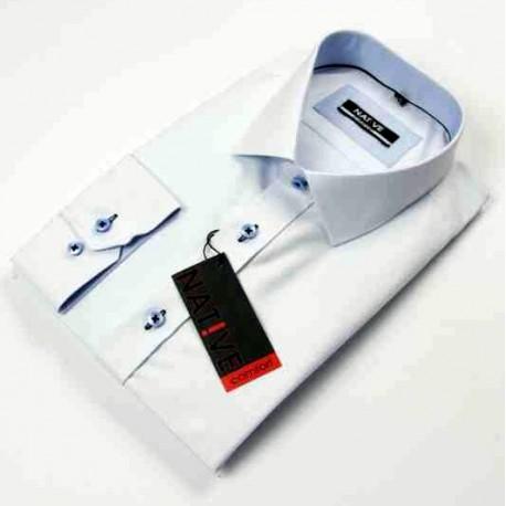 Bílá pánská košile dlouhý rukáv vypasovaný střih Native 120504