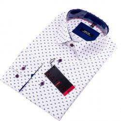 Bílá pánská košile dlouhý rukáv vypasovaný střih Native 120004
